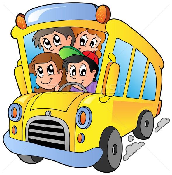 Iskolabusz boldog gyerekek lány mosoly gyerekek Stock fotó © clairev