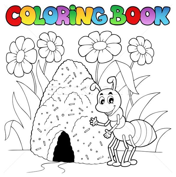 Boyama Kitabi Karinca Cicek Bahar Kitap Mutlu Vektor