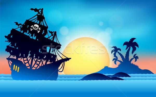 Foto stock: Pirata · navio · pequeno · ilha · sol · pôr · do · sol
