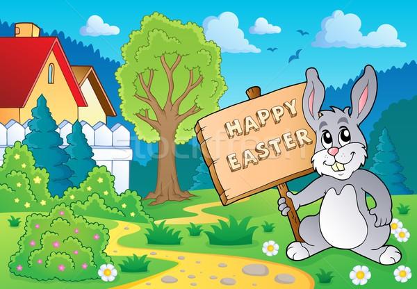 Húsvéti nyuszi téma kép húsvét boldog nyúl Stock fotó © clairev