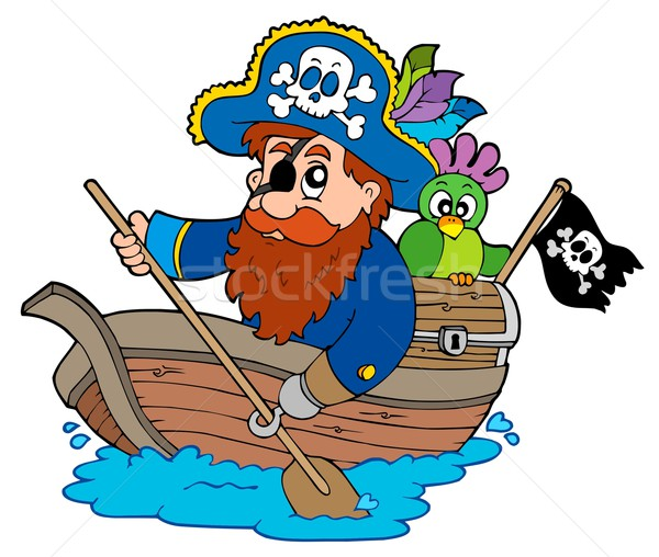 Pirate with parrot paddling in boat Stock photo © clairev