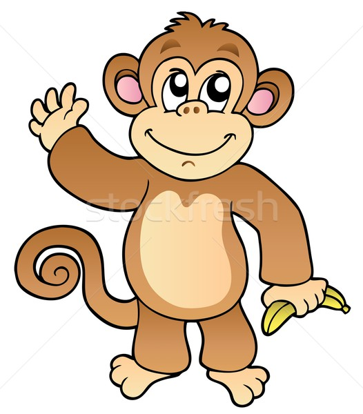 Cartoon waving monkey with banana Stock photo © clairev