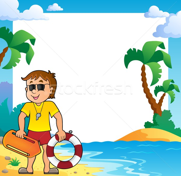 Beach theme frame with life guard Stock photo © clairev
