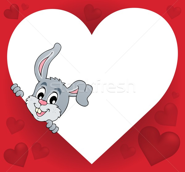 Heart shape with lurking bunny theme 1 Stock photo © clairev