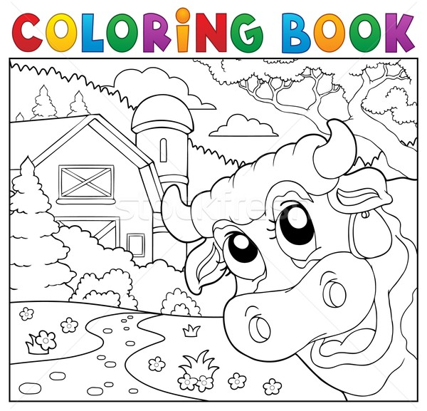 Coloring book lurking cow near farm Stock photo © clairev