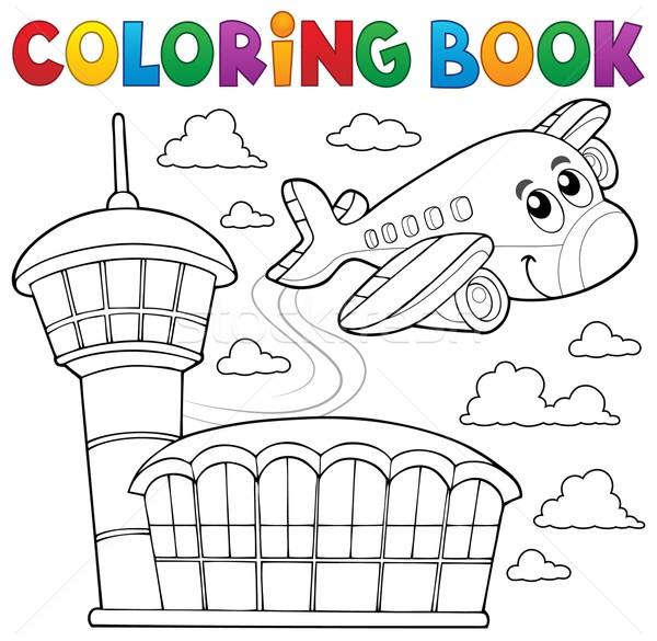 Boyama Kitabı Uçak Gökyüzü Gülümseme Kitap Bina Vektör