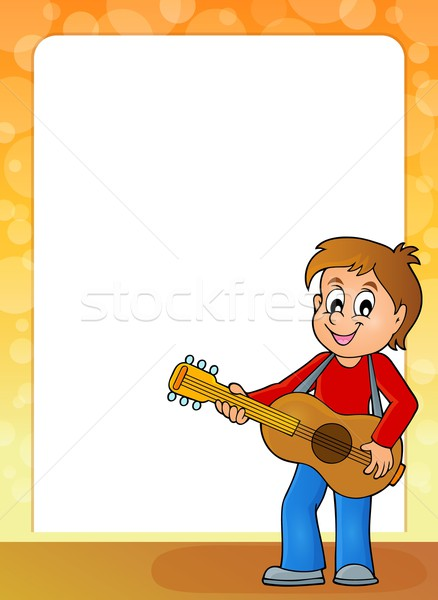 Estilizado quadro menino guitarrista sorrir feliz Foto stock © clairev