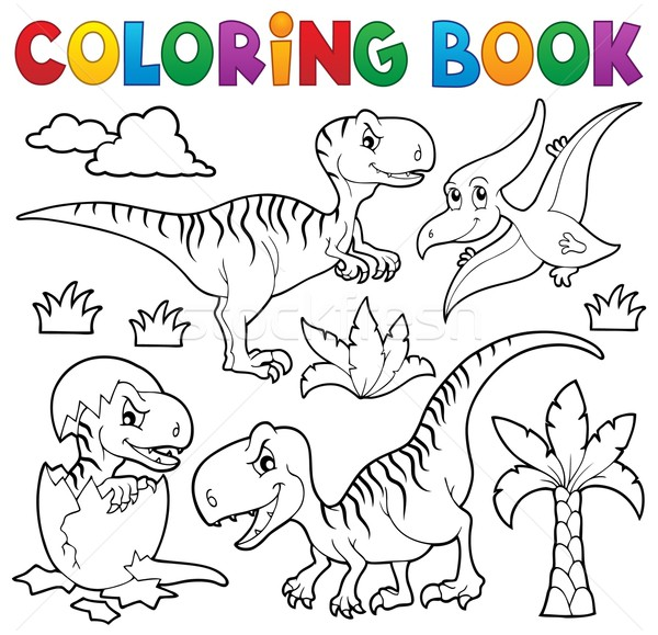 Coloring Book Dinosaur Theme 8 Vector Illustration C Klara Viskova