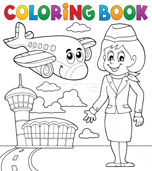 Libro da colorare aviazione donna libro costruzione lavoro Foto d'archivio © clairev