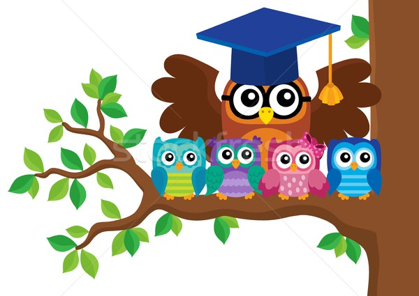 Owl teacher and owlets theme image 5 Stock photo © clairev