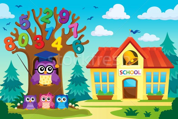 Tree with stylized school owl theme 8 Stock photo © clairev