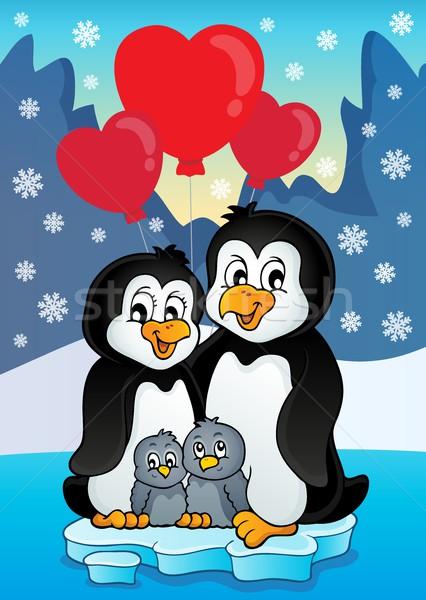 Valentine penguins near seashore Stock photo © clairev