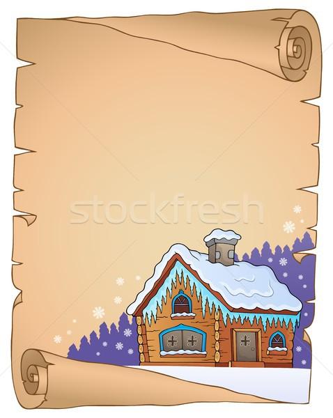 冬 コテージ 羊皮紙 紙 家 自然 ストックフォト © clairev