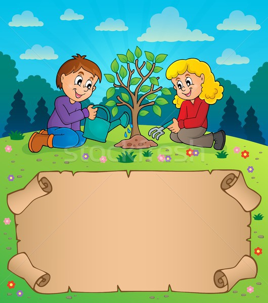 Small parchment and kids planting tree Stock photo © clairev