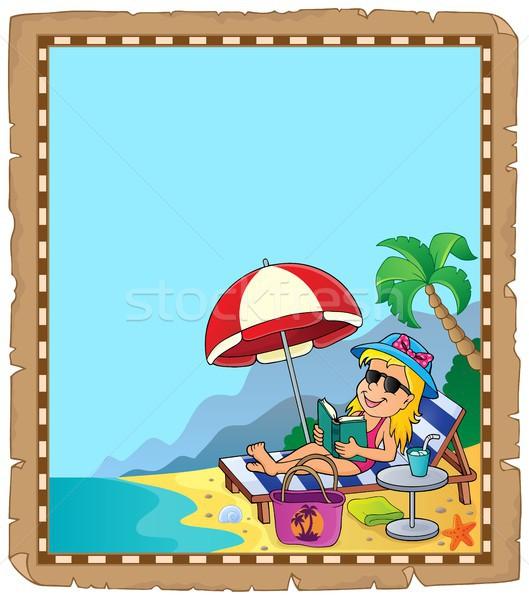 Foto d'archivio: Pergamena · ragazza · spiaggia · carta · felice · mare
