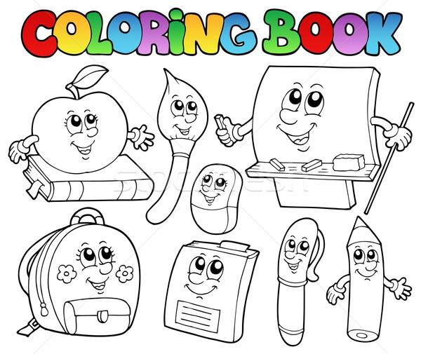 Coloring book school cartoons 5 Stock photo © clairev