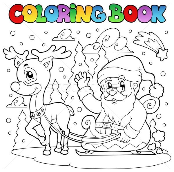 Boyama Kitabı Noel Baba Kitap Dizayn Boya Kar Vektör