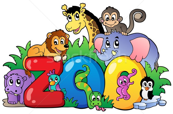 Zoo sign with various animals Stock photo © clairev