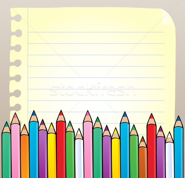 Notepad blank page with crayons Stock photo © clairev