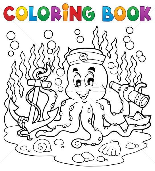 Boyama Kitabı Ahtapot Denizci Su Gülümseme Kitap