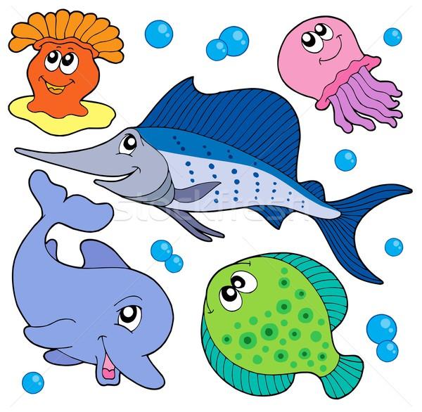 Sevimli deniz hayvanlar toplama deniz dizayn Stok fotoğraf © clairev