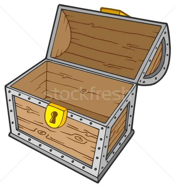 Stock fotó: Nyitva · üres · kincsesláda · terv · fém · doboz
