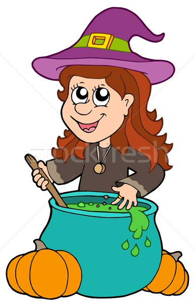 Wizard girl with cauldron Stock photo © clairev