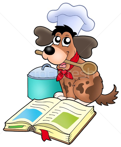 Cartoon hond chef recept boek kleur Stockfoto © clairev