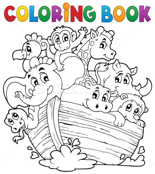 Stockfoto: Kleurboek · boek · hout · verf · kunst · boot