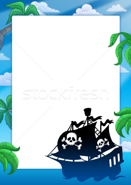 Frame with pirate ship silhouette Stock photo © clairev