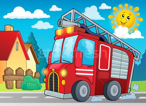 Wóz strażacki obraz samochodu słońce sztuki ciężarówka Zdjęcia stock © clairev