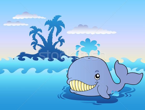 большой Cartoon кит морем рыбы природы Сток-фото © clairev