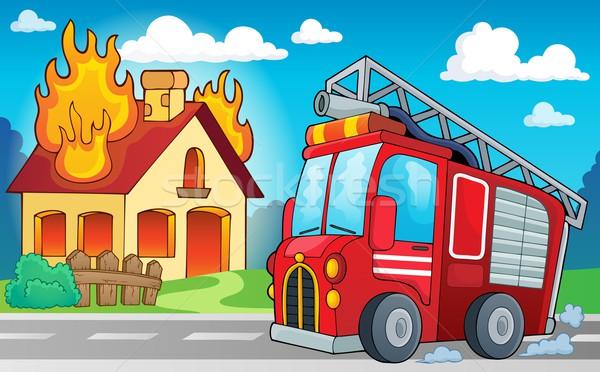 пожарная машина изображение автомобилей дороги здании искусства Сток-фото © clairev
