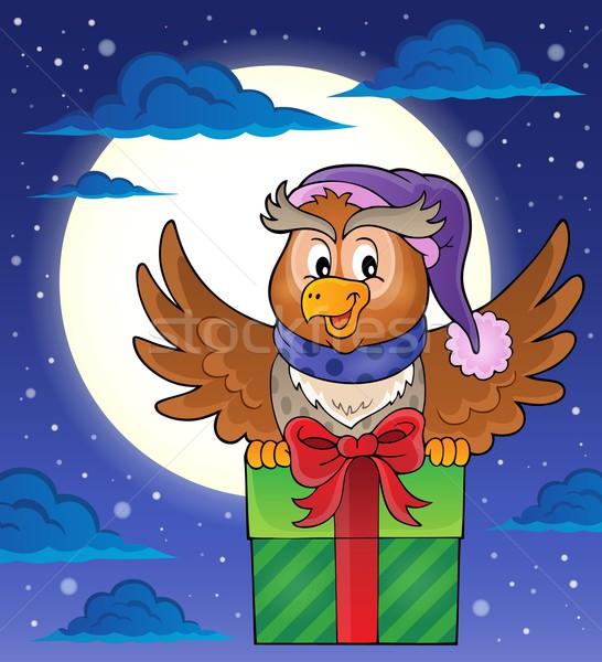 Bagoly ajándék kép égbolt születésnap madár Stock fotó © clairev
