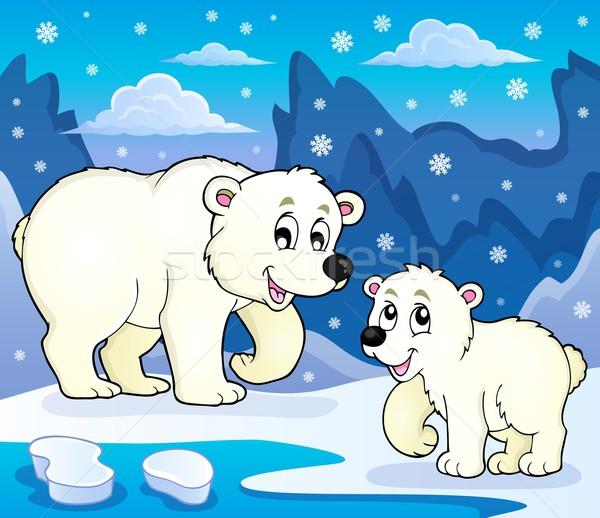 Polair beren afbeelding kunst ijs dieren Stockfoto © clairev