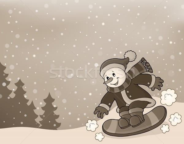 стилизованный изображение снеговик сноуборд снега одежды Сток-фото © clairev