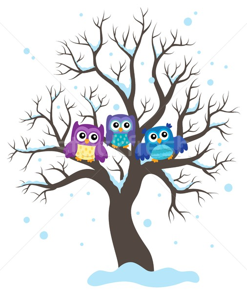 Stylized owls on tree theme image 1 Stock photo © clairev