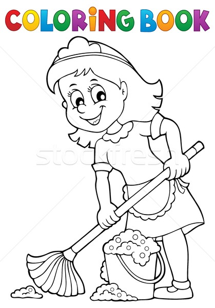 Coloring book cleaning lady 2 Stock photo © clairev