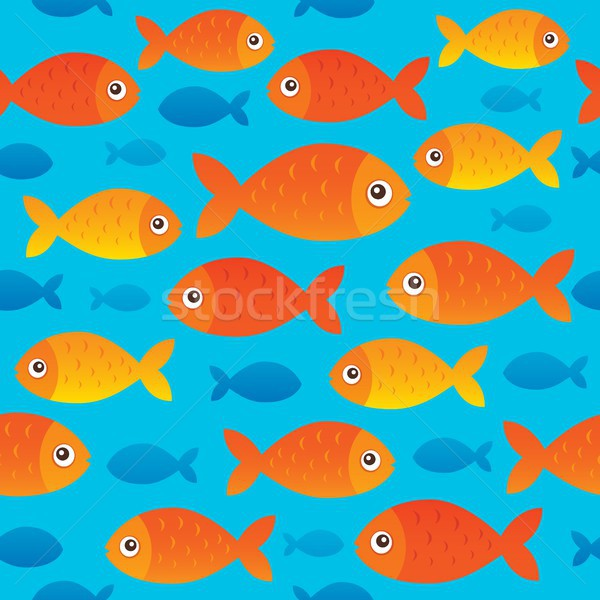 Seamless background stylized fishes 2 Stock photo © clairev