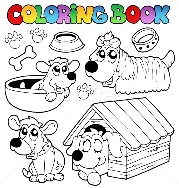 Coloring book with cute dogs Stock photo © clairev