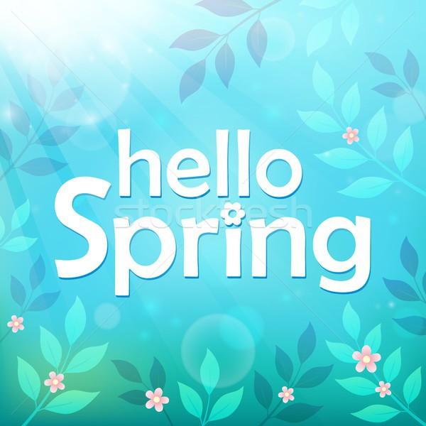 Olá primavera imagem folha arte inglês Foto stock © clairev
