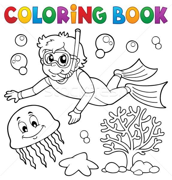 книжка-раскраска мальчика трубка Diver воды книга Сток-фото © clairev