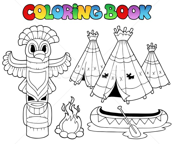 Coloring book with totem Stock photo © clairev