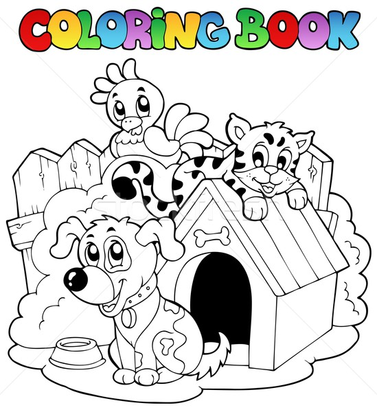 Coloring book with domestic animals Stock photo © clairev