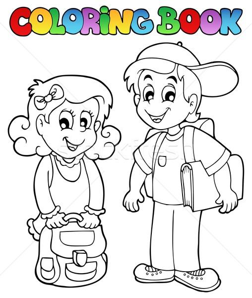 Kifestőkönyv iskola téma könyv gyermek terv Stock fotó © clairev