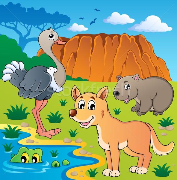 Australisch dieren water glimlach hond berg Stockfoto © clairev