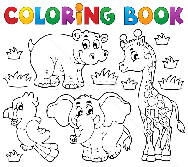 Coloring book African fauna 1 Stock photo © clairev