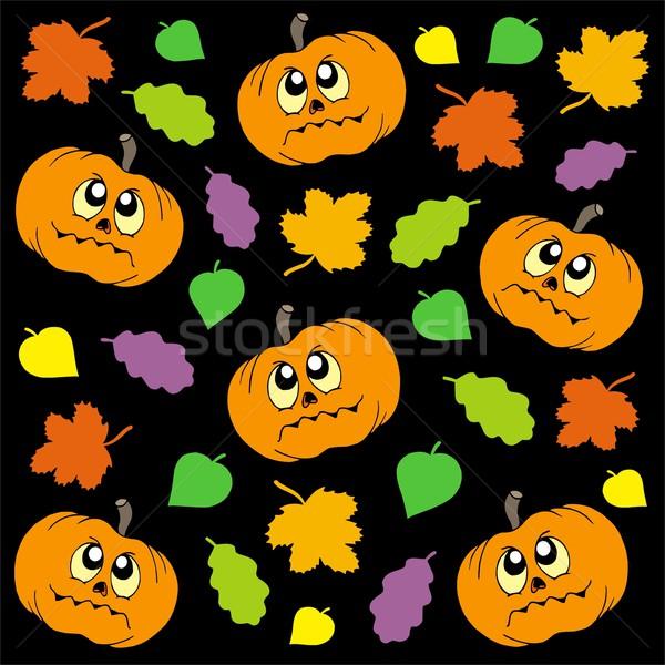 Halloween pompoenen bladeren oog blad achtergrond Stockfoto © clairev