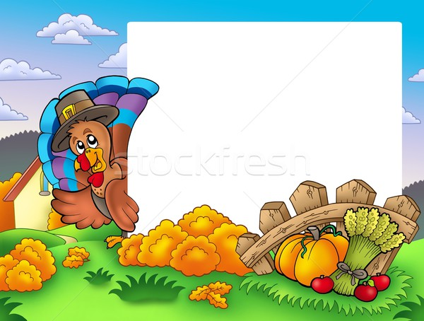 Thanksgiving frame with turkey 1 Stock photo © clairev