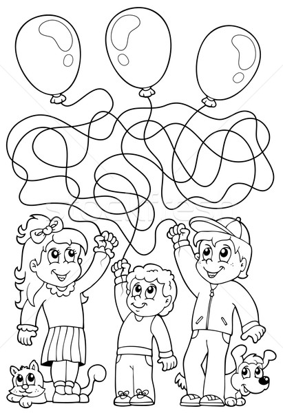 Maze 8 coloring book with children Stock photo © clairev